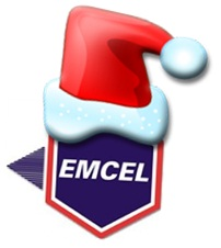 EMCEL Logo with Christmas Hat